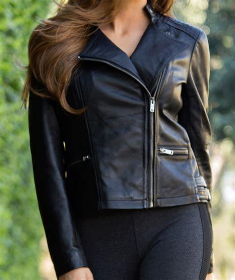 Celana Gyana Brown Scuba Premium 02 black asymmetrical genuine leather jacket womens soft lambskin