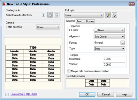 autocad tutorial with exle autocad tutorial create a cell style for a table