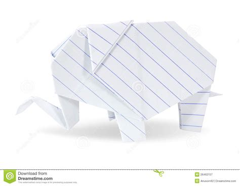 Origami White Paper - origami elephant white recycle paper royalty free stock