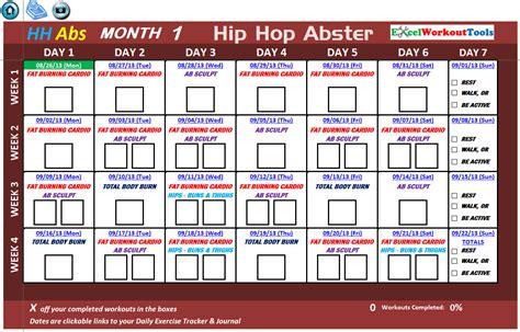 Hip Hop Abs Calendar Excel Spreadsheet Workout Calendar Tracker Tool For Hip