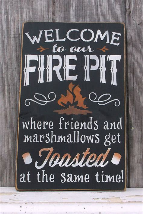 Firepit Signs Decorate Outdoor Spaces With A Welcome To Our Pit Sign Glitter N Spice