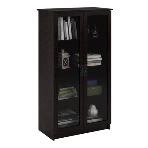 Black Bookcases With Glass Doors 4 Shelf Glass Door Barrister Bookcase In Black Forest 348012pcom