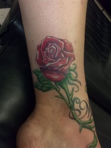 rose tattoos in color flower ankle color will spencer