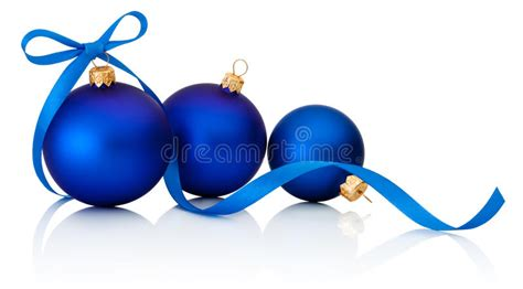 three blue christmas balls with ribbon bow isolated on