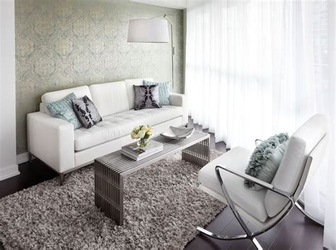 Living Room Ideas With White Leather Couches by Contemporary Condo Living Room With White Leather Sofa
