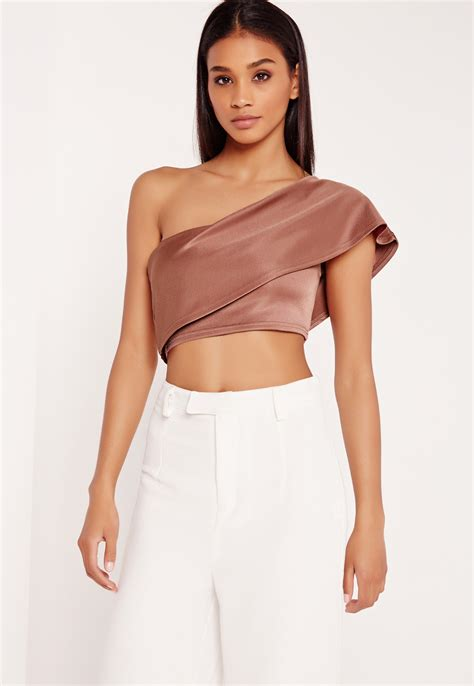 Shoulder Tank Blouse Pink missguided one shoulder crop top pink in pink lyst