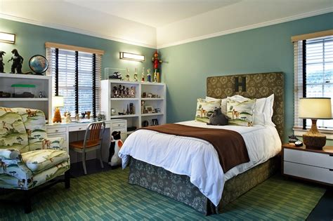 Blue Green And Brown Bedroom Designs Emerald Green Stools Contemporary Boy S Room Sherwin