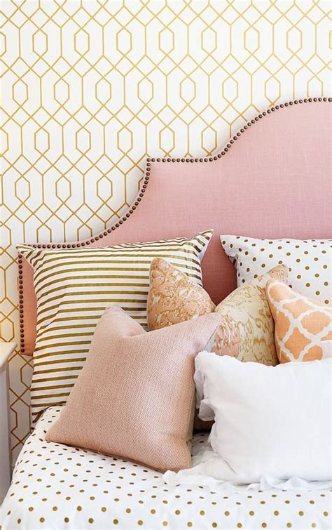 coral pink and gold girl s room pattern mix upholstered