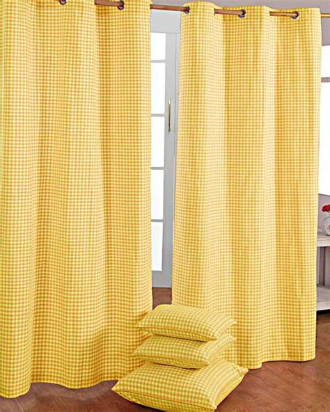 Gingham Curtains Cotton Gingham Check Yellow Ready Made Eyelet Curtains