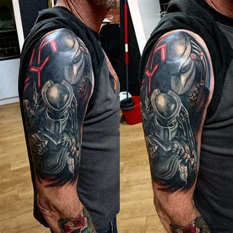 quarter sleeve vs half sleeve tattoo 50 predator tattoo designs for men sci fi ink ideas