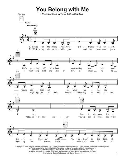 strum pattern tonight you belong to me you belong with me sheet music direct