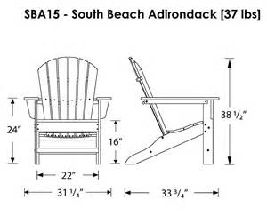 Adirondack Chair Dimensions Polywood South Beach Adirondack Chair Adirondack Chairs
