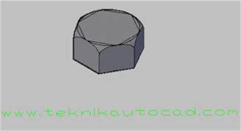 cara membuat gambar baut 3d di autocad cara menggambar baut di autocad tutorial autocad 3d