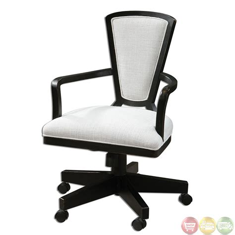 Exavier Sandy White Linen Wood Frame Modern Desk Chair 23151 Modern Desk Chairs