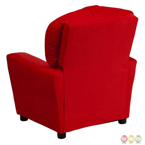 red microfiber recliner contemporary red microfiber kids recliner with cup holder