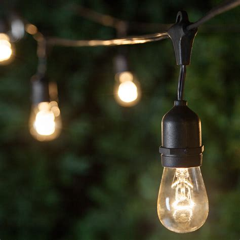 Patio Light Bulbs Patio Lights Commercial Clear Patio String Lights 24 S14 E26 Bulbs Black Wire
