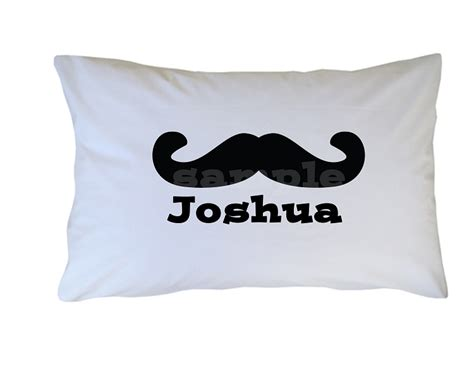 personalized black mustache pillow for adults