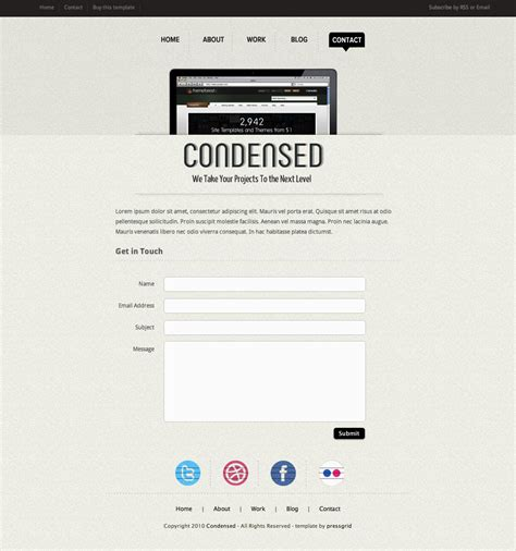 Condensed Html Template By Pressgrid Themeforest Condensed Business Plan Template
