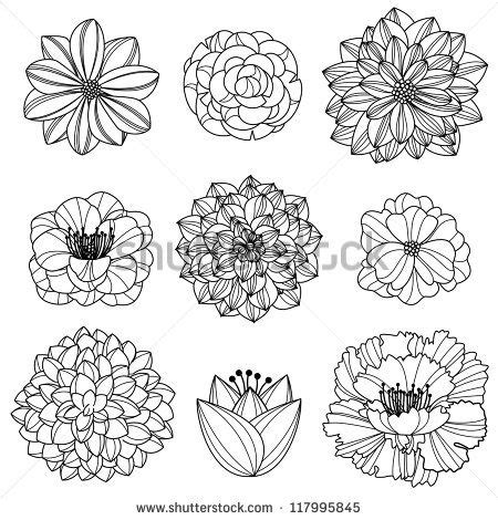 doodlebug dezigns vector collection of flowers stock vector