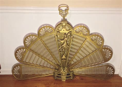 Vintage Brass And Metal Fan Fireplace Screen With Asian Brass Fan Fireplace Screen