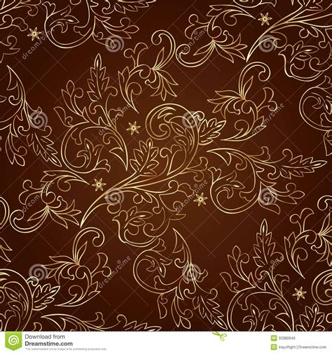brown pattern vector floral vintage seamless pattern on brown background stock
