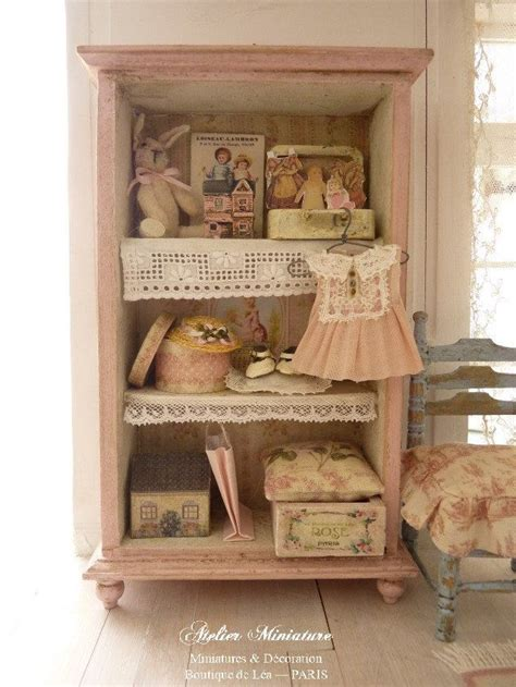 pink wooden doll house baby girl miniature wardrobe in wood pink collectible