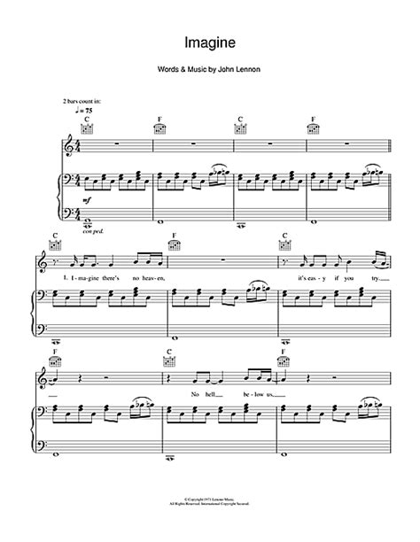 tutorial piano john lennon imagine imagine sheet music by john lennon piano vocal guitar