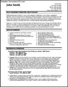 Ballast Operator Sle Resume by Chemical Plant Operator Resume Exle For Machine Operator Resume Sle Sle