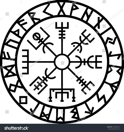 vegvisir icelandic navigation compass stock vector