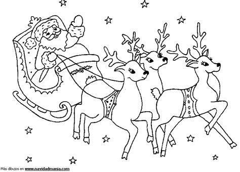imagenes de santa claus con los renos dibujo de trineo de papa noel para ni 241 os para colorear de