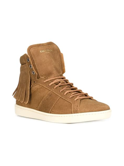 laurent sneakers mens laurent court classic sneakers in brown for lyst