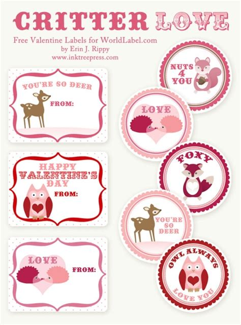 valentine s day labels stickers critter love by