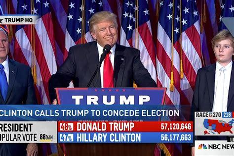 donald trump victory speech trump shocks the world with white house win satenaw