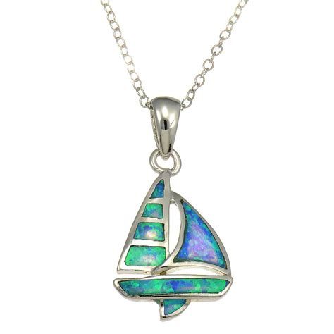 Blue Color Moissanite 3 89 Ct sterling silver synthetic blue opal sailboat shape pendant