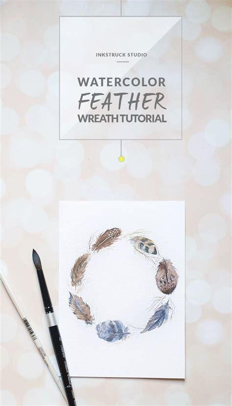 watercolor wreath tutorial watercolor feather wreath tutorial aesthetics