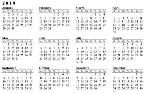 Calendar 2018 Excel Excel 2018 Calendar Template