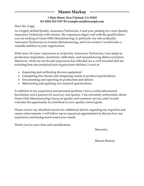 Cover Letter Exle Quality Assurance Letter Of Application Quality Assurance Letter Of Application