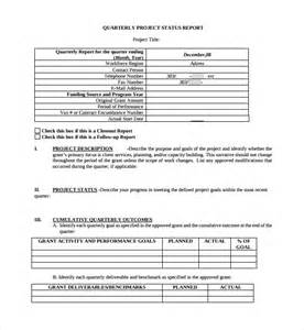 quarterly status report template sle project quarterly report template 8 free