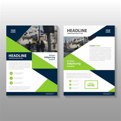 abstract blue low polygon leaflet brochure flyer template abstract triangle green blue polygon leaflet brochure
