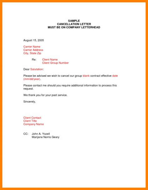Etisalat Cancellation Letter Forms cancellation letter template template business