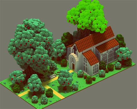 House Maker Game medieval scenes voxel art on behance