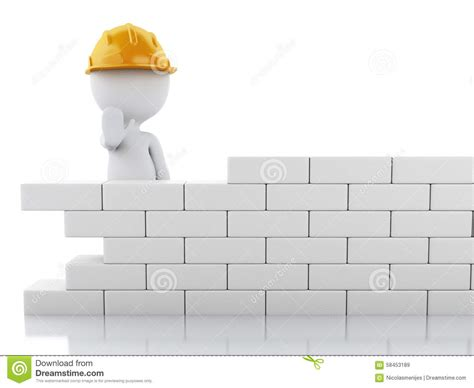 building a wall 3d white building a brick wall stock illustration