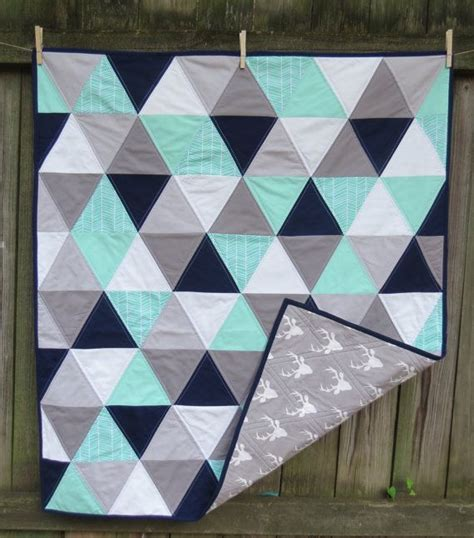 grey pattern quilt mint navy grey and mint baby quilt with deer by twin