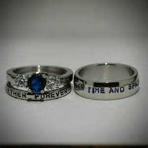 dr who wedding ring doctor who inspired 3 wedding set sted stainless steel and cz sapphire sci fi