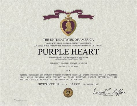 Purple Heart Medal Certificate, Navy and Marine Corps