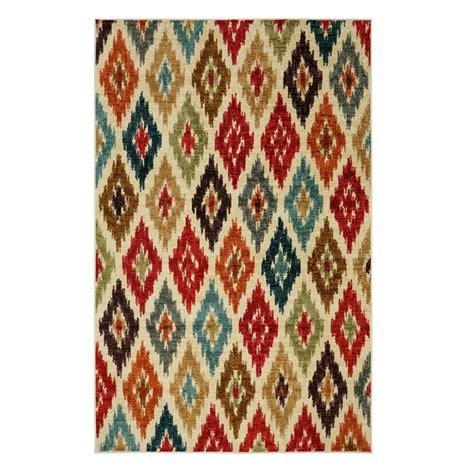 ikat bath rug mohawk home carnival ikat salsa 5 ft x 8 ft area rug 491208 the home depot
