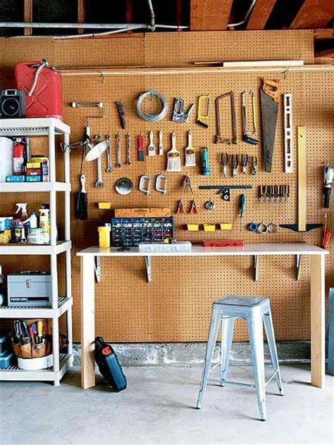Unfinished Garage Organization Ideas Organized Garage Tool Bench From Real Simple Hang