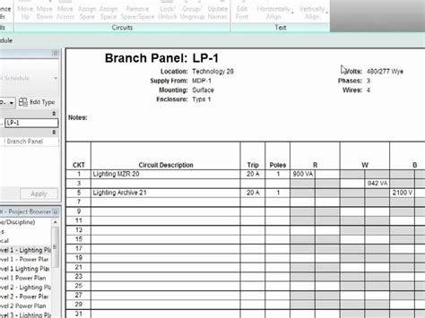 electrical load schedule template revit mep 2012 tutorial electrical systems panel