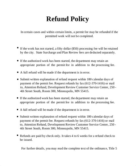 returns policy template sle refund policy 8 documents in word pdf