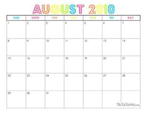 August 2010 Calendar The Tomkat Studio Free Printable August 2010